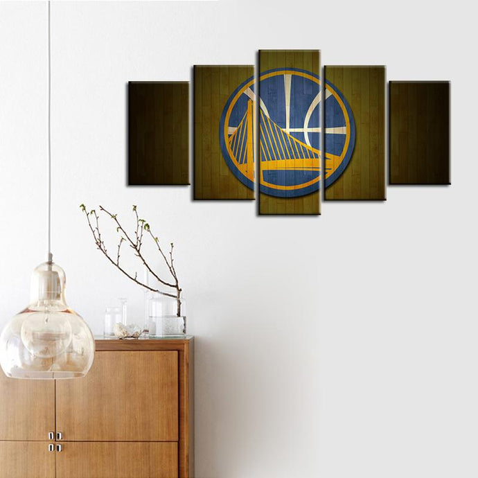 Golden State Warriors Wooden Style 5 Pieces Wall Painting Canvas