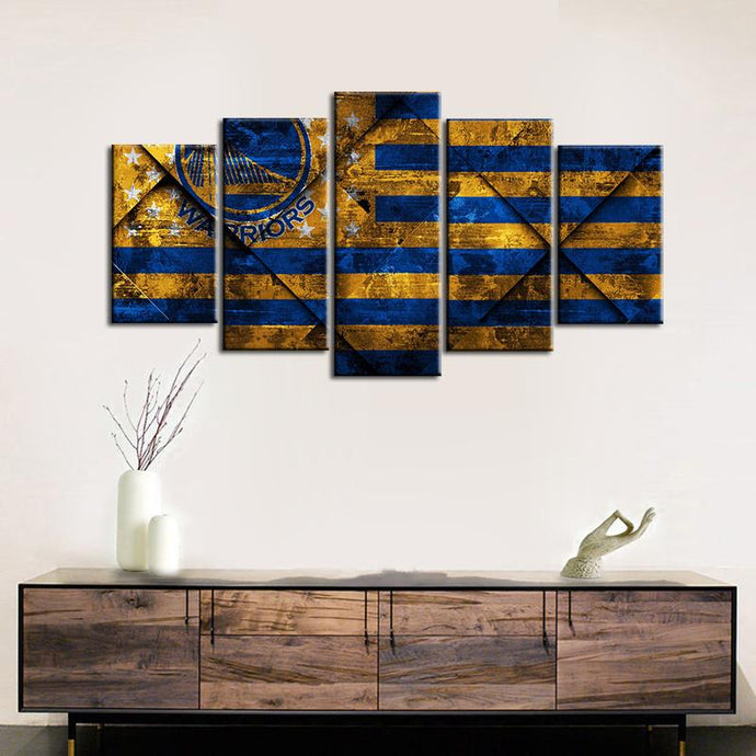 Golden State Warriors Oldish Style 5 Pieces Wall Painting Canvas