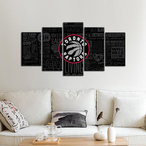 Toronto Raptors Modern Writing Look 5 Pieces Painting Canvas