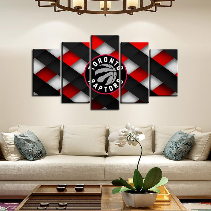 Toronto Raptors Cross Style 5 Pieces Painting Canvas