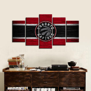Toronto Raptors Wooden Look 5 Pieces Painting Canvas