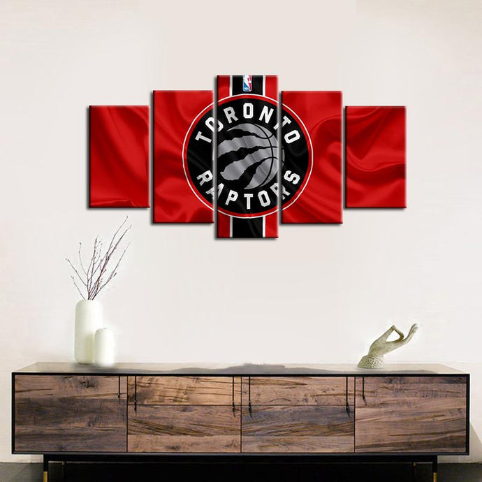 Toronto Raptors Fabric Flag Look 5 Pieces Painting Canvas