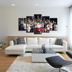Toronto Raptors Winning Moment 5 Pieces Painting Canvas