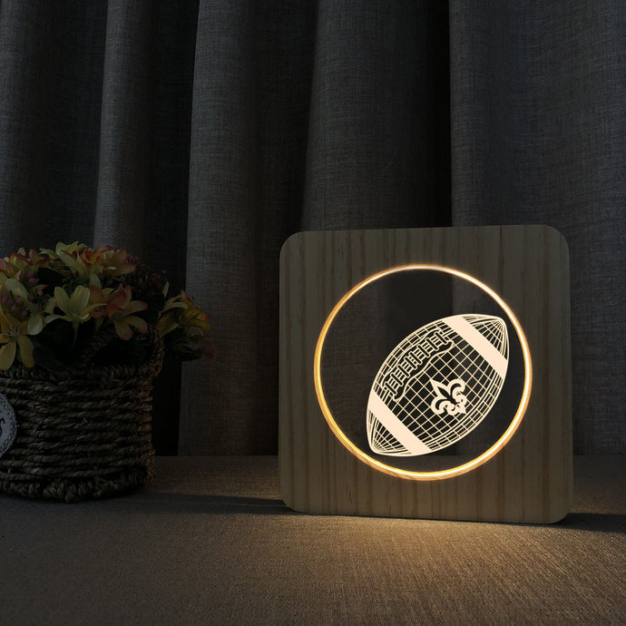 New Orleans Saints 3D Wooden LED Lamp