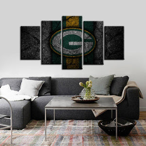 Green Bay Packers Rock Style 5 Pieces Painting Canvas