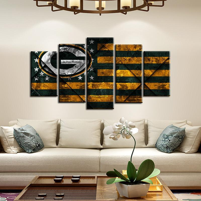 Green Bay Packers Rough Texture 5 Pieces Painting Canvas