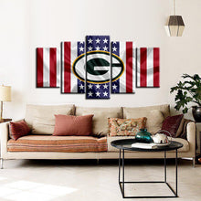Load image into Gallery viewer, Green Bay Packers American Flag Look 5 Pieces Painting Canvas