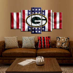 Green Bay Packers American Flag Look 5 Pieces Painting Canvas