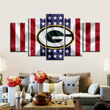 Load image into Gallery viewer, Green Bay Packers American Flag Canvas 2