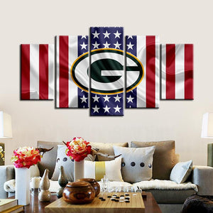 Green Bay Packers American Flag Canvas 2