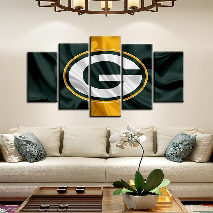 Green Bay Packers Fabric Flag Look 5 Pieces Painting Canvas 2