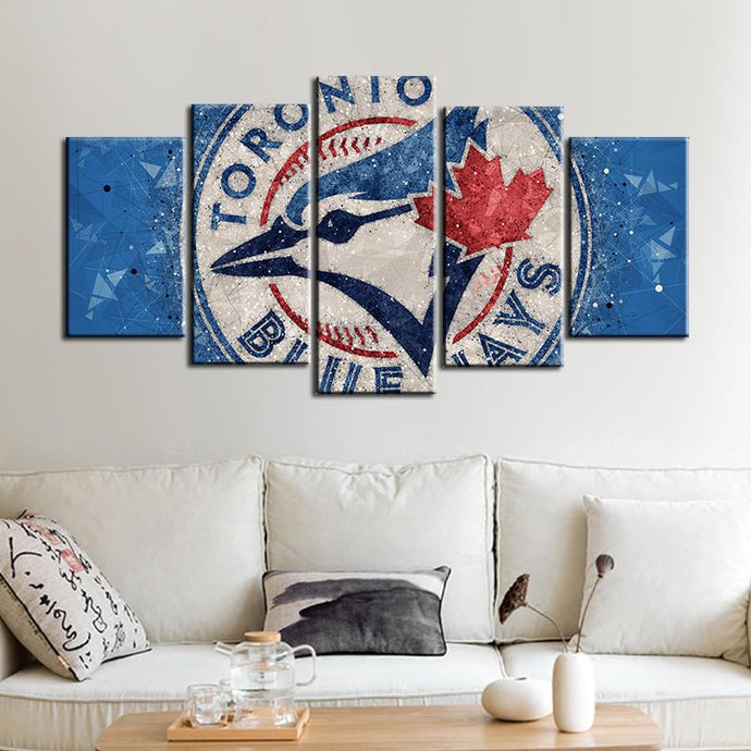 Toronto Blue Jays Techy Look 5 Pieces Wall Painting Canvas