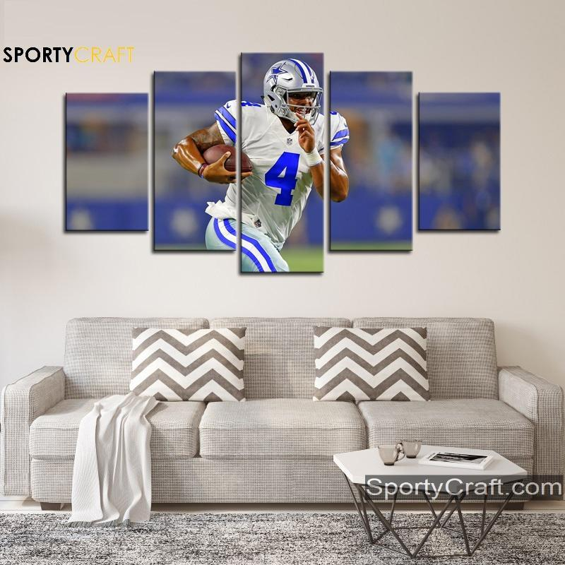 Dak Prescott Run Dallas Cowboys Canvas