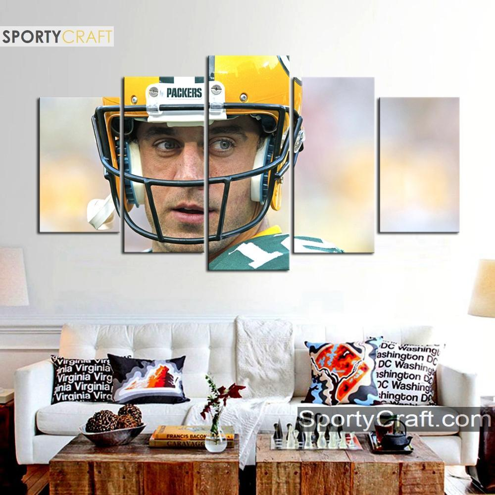 Aaron Rodgers Looks Green Bay Packers Canvas