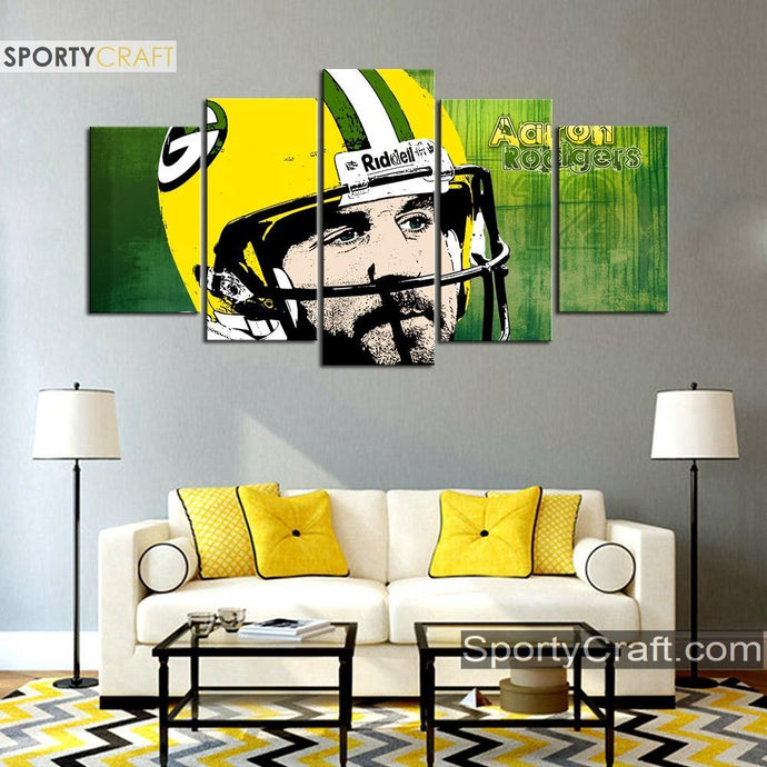 Aaron Rodgers Green Bay Packers Artistic Canvas