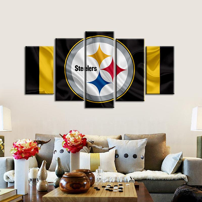 Pittsburgh Steelers Fabric Flag Look 5 Pieces Painting Canvas