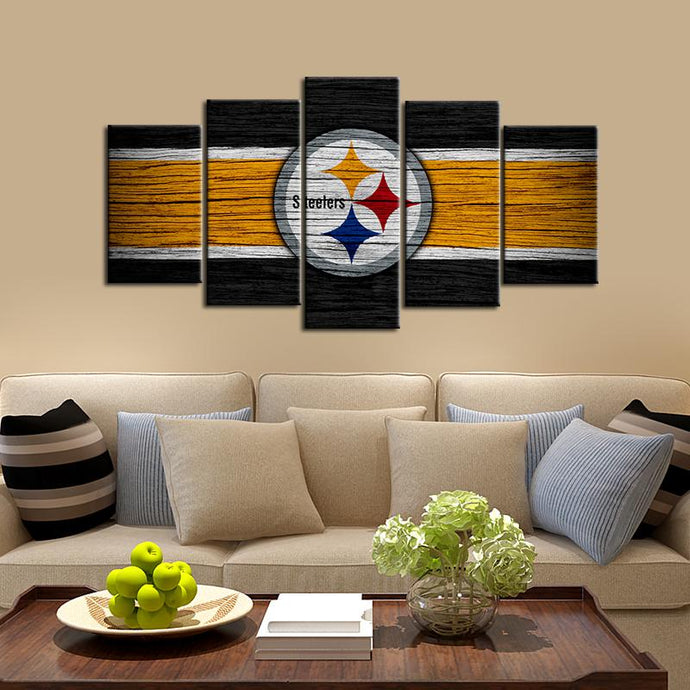 Pittsburgh Steelers Wooden Look 5 Pieces Painting Canvas