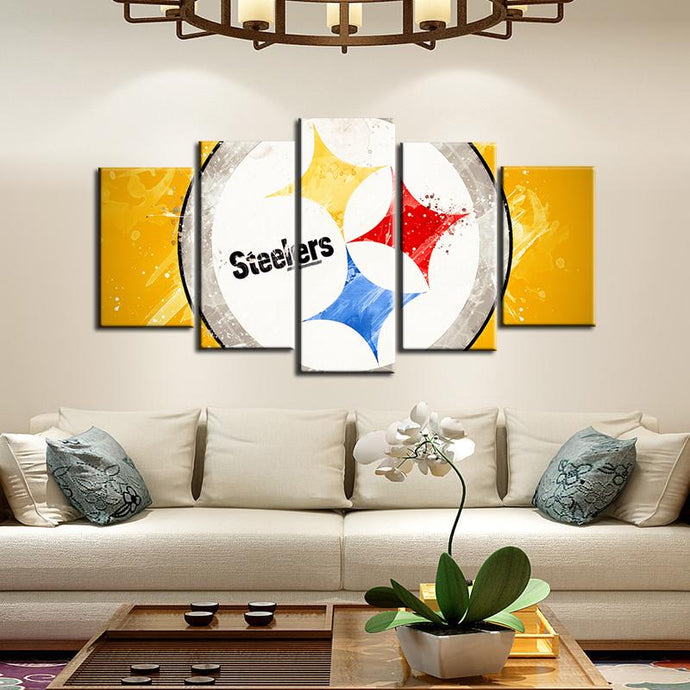 Pittsburgh Steelers Paint Splash Look 5 Pieces Painting Canvas