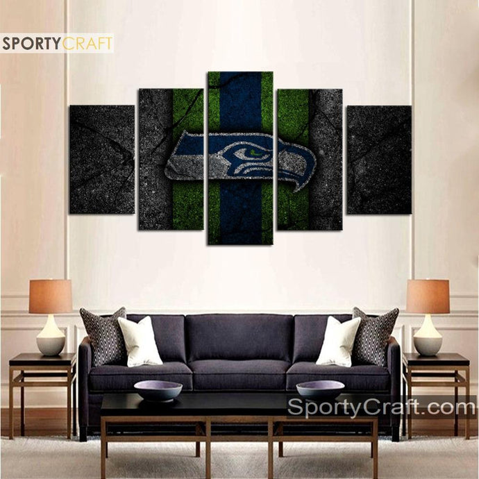 Seattle Sea Hawks Rock Style 5 Pieces Canvas Canvas