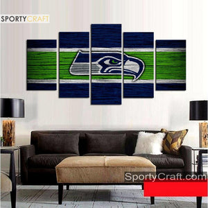 Seattle Sea Hawks Wooden Style 5 Pieces Canvas Canvas 2