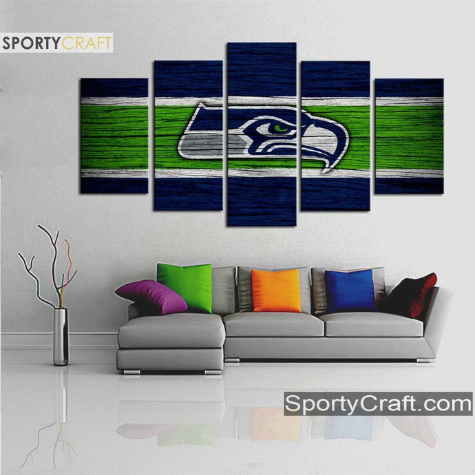 Seattle Sea Hawks Wooden Style 5 Pieces Canvas Canvas