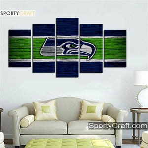 Seattle Sea Hawks Wooden Style 5 Pieces Canvas Canvas 3