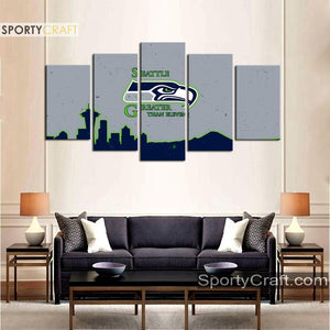 Seattle Sea Hawks Grayish 5 Pieces Canvas Canvas 2