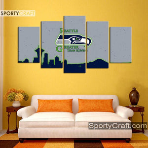 Seattle Sea Hawks Grayish 5 Pieces Canvas Canvas 1