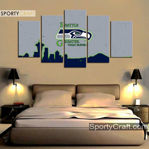 Seattle Sea Hawks Grayish 5 Pieces Canvas Canvas