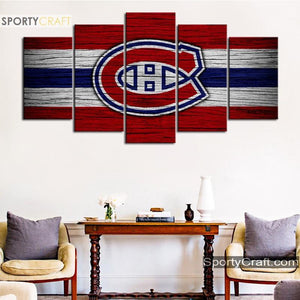 Montreal Canadiens Wooden Style Canvas