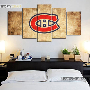 Montreal Canadiens Burned Style Canvas