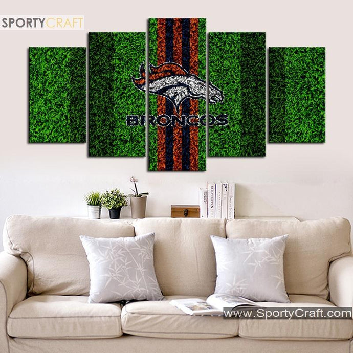 Denver Broncos Grass Field Canvas