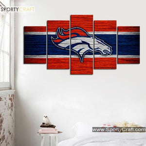 Denver Broncos Wooden Style Canvas