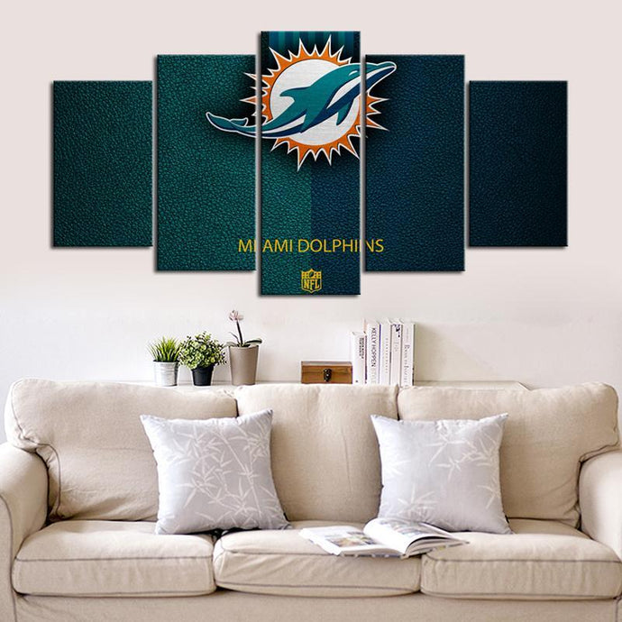 Miami Dolphins Leather Style Canvas