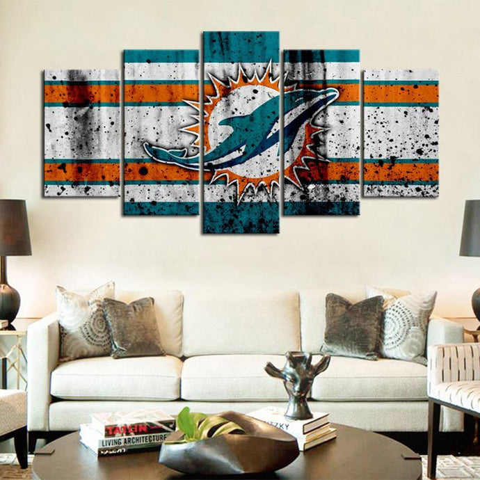 Miami Dolphins Rough Look Canvas