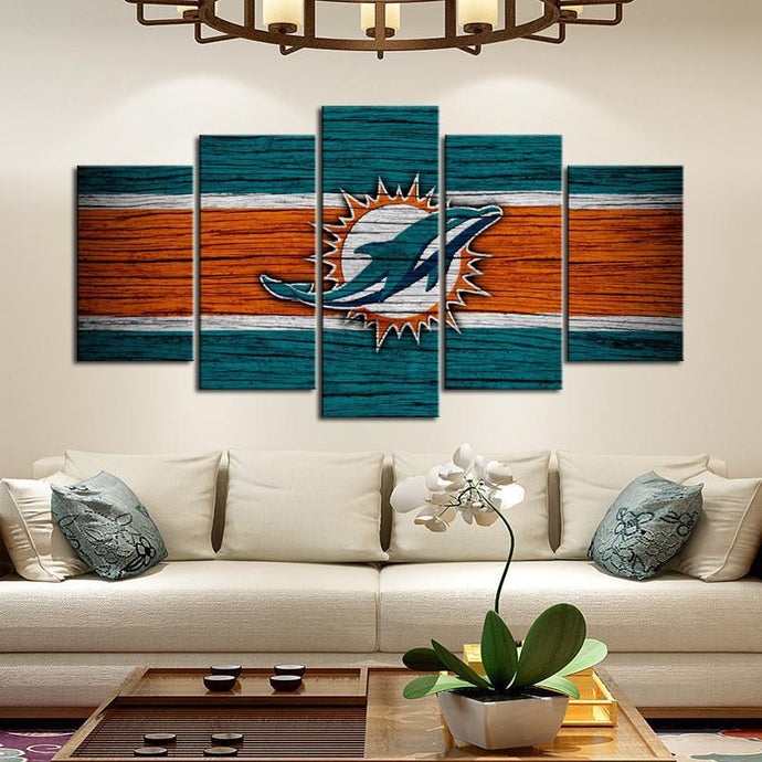 Miami Dolphins Wooden Look Canvas