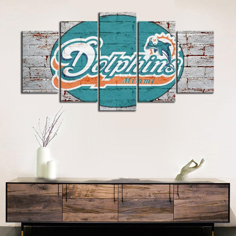 Miami Dolphins Rough Wall Canvas