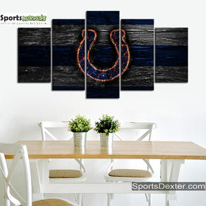 Indianapolis Colts Fire Burning Canvas