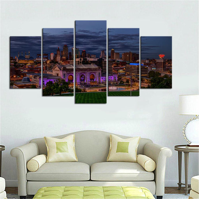 Union Station Night Scene Kansas City Canvas