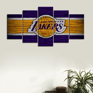 Los Angeles Lakers Wooden Style Canvas