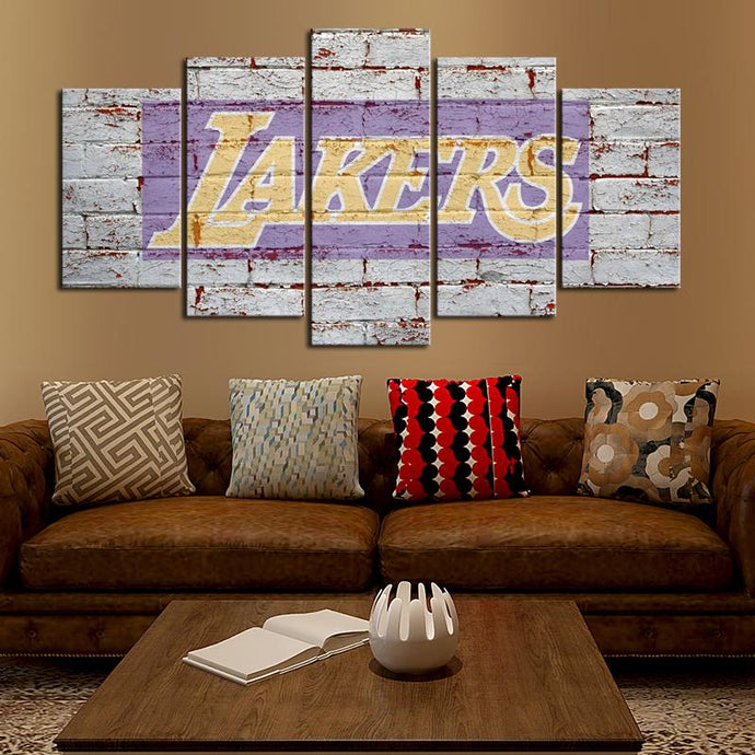Los Angeles Lakers Old Wall Canvas