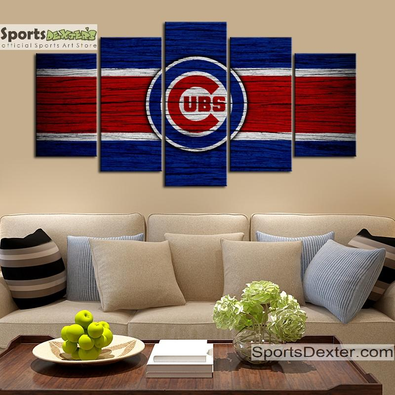 Chicago Cubs Wooden Look Canvas