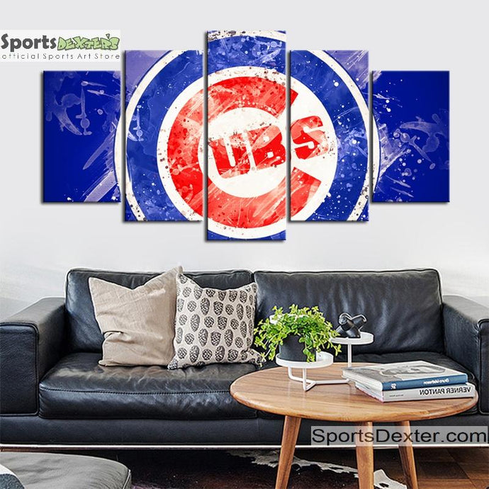 Chicago Cubs Paint Splash Canvas