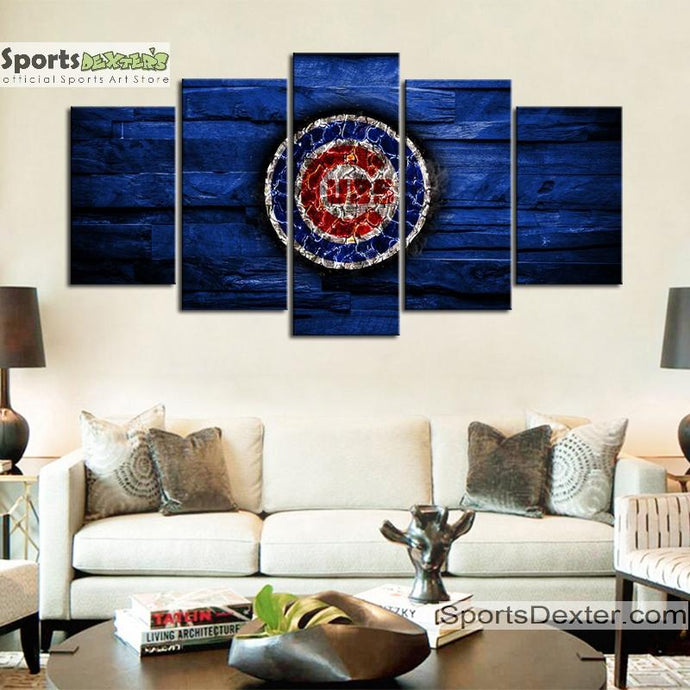 Chicago Cubs Wooden Rock Canvas