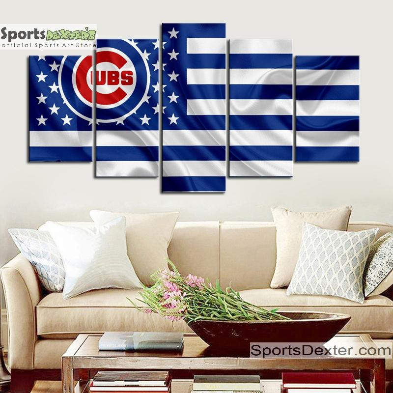 Chicago Cubs American Flag Canvas