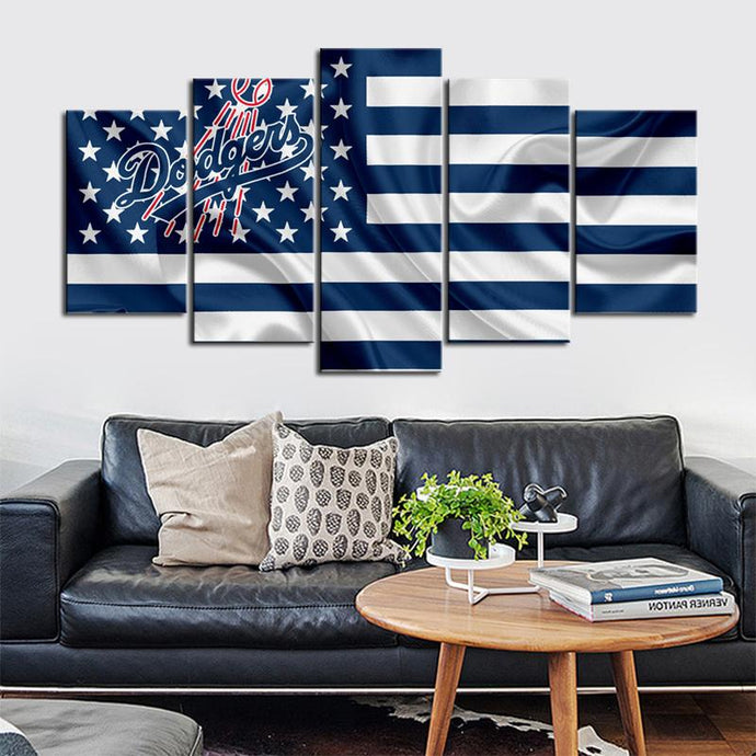 Los Angeles Dodgers American Flag Canvas