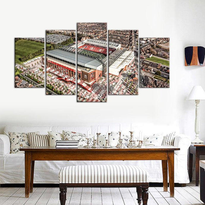 Liverpool F.C. Stadium Areal 5 Pieces Wall Painting Canvas