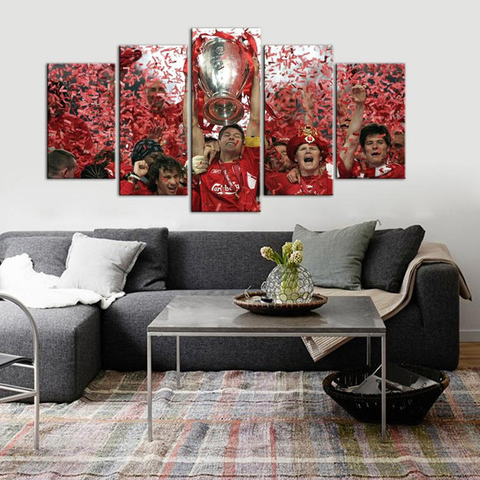 Liverpool F.C. Wining Celebrations 5 Pieces Wall Painting Canvas