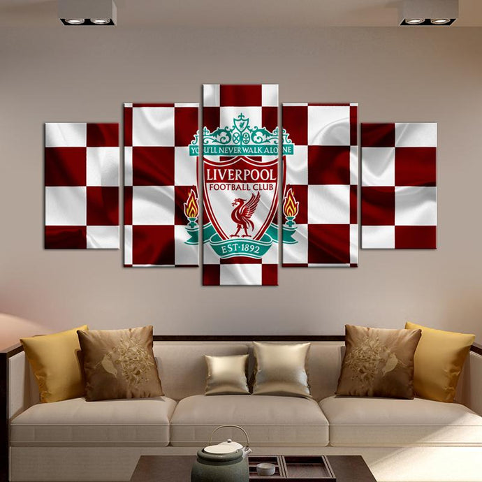 Liverpool F.C. Fabric Flag 5 Pieces Wall Painting Canvas