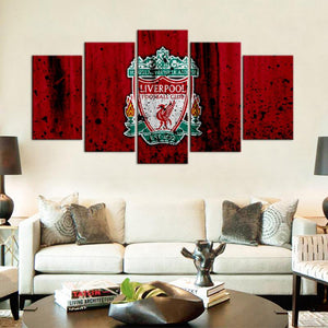 Liverpool F.C. Rough Look 5 Pieces Wall Painting Canvas